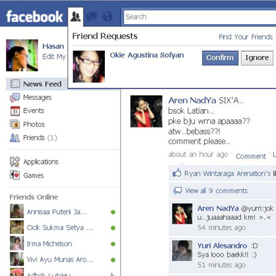 Facebook ku beneran di add Teh Okie :)