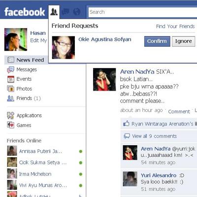 Facebook ku beneran di add Teh Okie :)